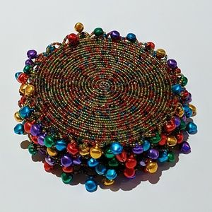 Beaded Coaster Set w/ Accent Multicolored Bells